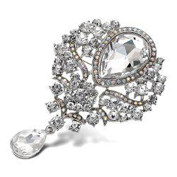 Water Drop Fake Crystal Rhinestone Brooch