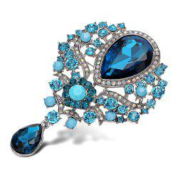 Water Drop Fake Crystal Rhinestone Brooch - BLUE