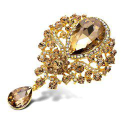Water Drop Fake Crystal Rhinestone Brooch - CHAMPAGNE GOLD