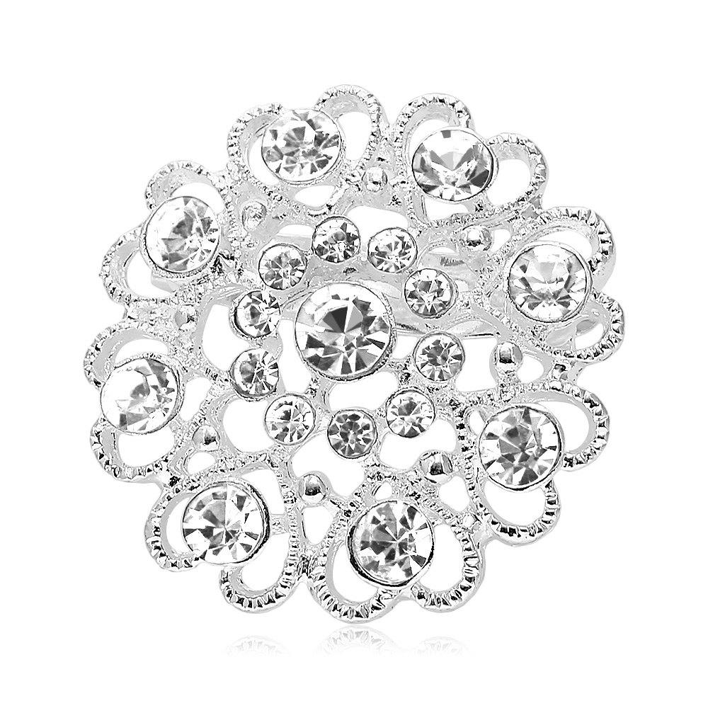 Hollow Out Rhinestoned Flower Shape BroochJEWELRY<br><br>Color: WHITE; Brooch Type: Brooch; Gender: For Women; Style: Trendy; Shape/Pattern: Heart; Weight: 0.030kg; Package weight: 0.030 kg; Product size (L x W x H): 3.20 x 3.20 x 1.20 cm / 1.26 x 1.26 x 0.47 inches; Package size (L x W x H): 5.00 x 5.00 x 1.30 cm / 1.97 x 1.97 x 0.51 inches; Package Contents: 1 x Brooch;