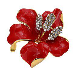 Rose Shape Rhinestoned Platinum Plated Brooch - RED