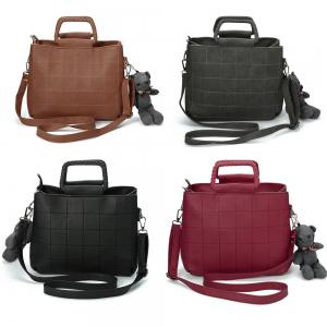 Guapabien Brief Plaid Solid Color Women Tote Bag -
