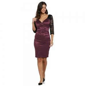 Midi Bodycon Dress With Lace Sleeves -