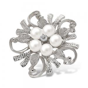 Fake Pearl Flower Shape Brooch - Silver White
