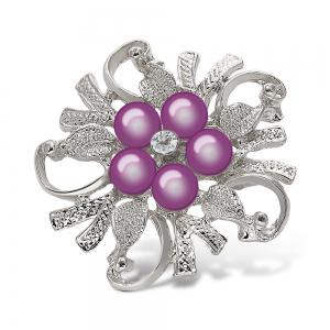 Fake Pearl Flower Shape Brooch - Purple - Xl