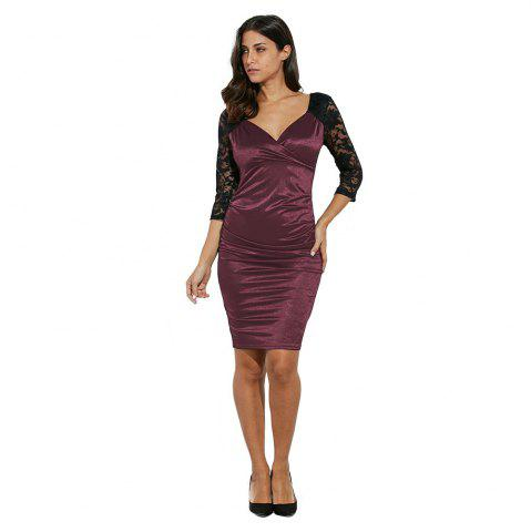 Hot Midi Bodycon Dress With Lace Sleeves