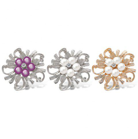 Outfit Fake Pearl Flower Shape Brooch - PURPLE  Mobile