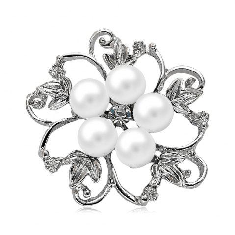 Discount Fake Pearl Hollow Out Flower Brooch - WHITE  Mobile