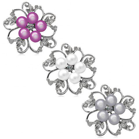 Fashion Fake Pearl Hollow Out Flower Brooch - GRAY  Mobile