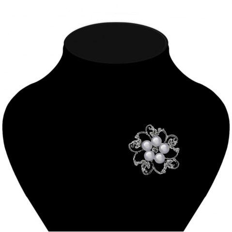Hot Fake Pearl Hollow Out Flower Brooch - GRAY  Mobile