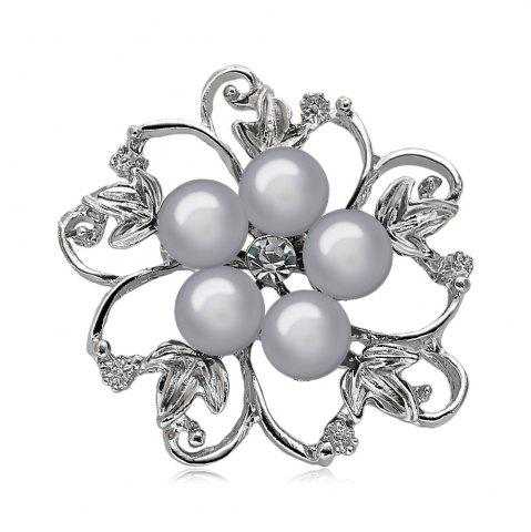 Buy Fake Pearl Hollow Out Flower Brooch - GRAY  Mobile