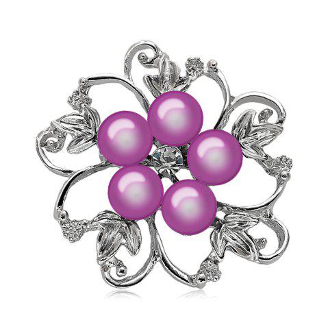 Hot Fake Pearl Hollow Out Flower Brooch - PURPLE  Mobile