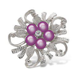 Fake Pearl Flower Shape Brooch - PURPLE