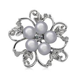 Fake Pearl Hollow Out Flower Brooch