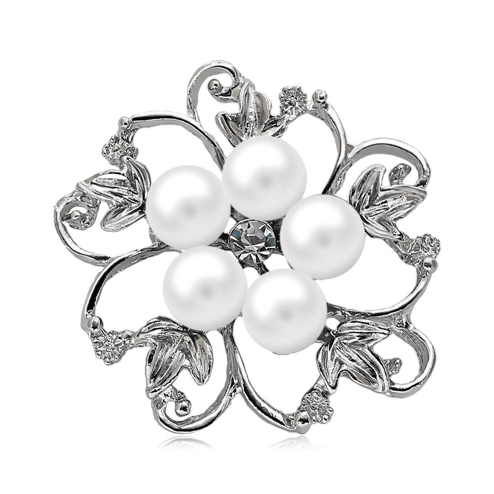 Fake Pearl Hollow Out Flower BroochJEWELRY<br><br>Color: WHITE; Brooch Type: Brooch; Gender: For Women; Style: Trendy; Shape/Pattern: Others; Weight: 0.031kg; Product weight: 0.006 kg; Package weight: 0.031 kg; Product size (L x W x H): 4.00 x 4.00 x 1.20 cm / 1.57 x 1.57 x 0.47 inches; Package size (L x W x H): 7.50 x 7.00 x 1.20 cm / 2.95 x 2.76 x 0.47 inches; Package Contents: 1 x Brooch;