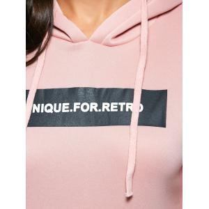 Fashionable Hooded Long Sleeve Drawstring Letter Print Women Hoodie - LIGHT PINK M