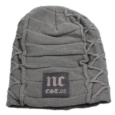 Casual Winter Warm Solid Color Knitted Hat for Men - Light Gray - S