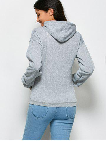 Unique Fashionable Hooded Long Sleeve Drawstring Letter Print Women Hoodie - XL GRAY Mobile