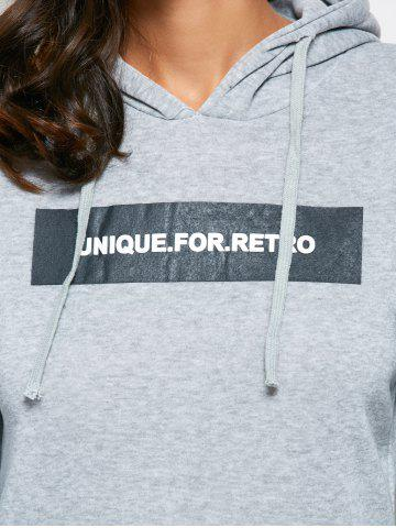Online Fashionable Hooded Long Sleeve Drawstring Letter Print Women Hoodie - XL GRAY Mobile