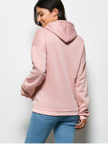 Online Fashionable Hooded Long Sleeve Drawstring Letter Print Women Hoodie - M LIGHT PINK Mobile