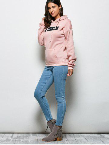 Discount Fashionable Hooded Long Sleeve Drawstring Letter Print Women Hoodie - M LIGHT PINK Mobile