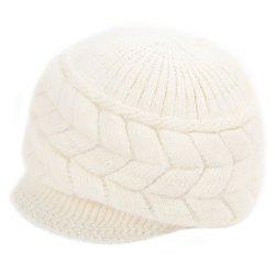 Winter Solid Color Ear Protection Warm Knitted Cricket Cap for Women - WHITE