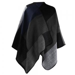 Winter Ethnic Style Color Block Warm Blanket Scarf for Women - Black