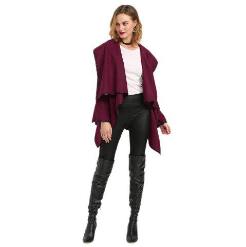 Affordable Long Sleeve Long Woolen Cardigan Type Coat - DEEP RED XL Mobile