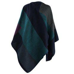 Winter Ethnic Style Color Block Warm Blanket Scarf for Women - DEEP GREEN