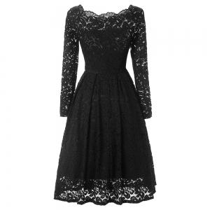Elegant Long Sleeve Slash Neck Hollow Out Lace Dress for Women -