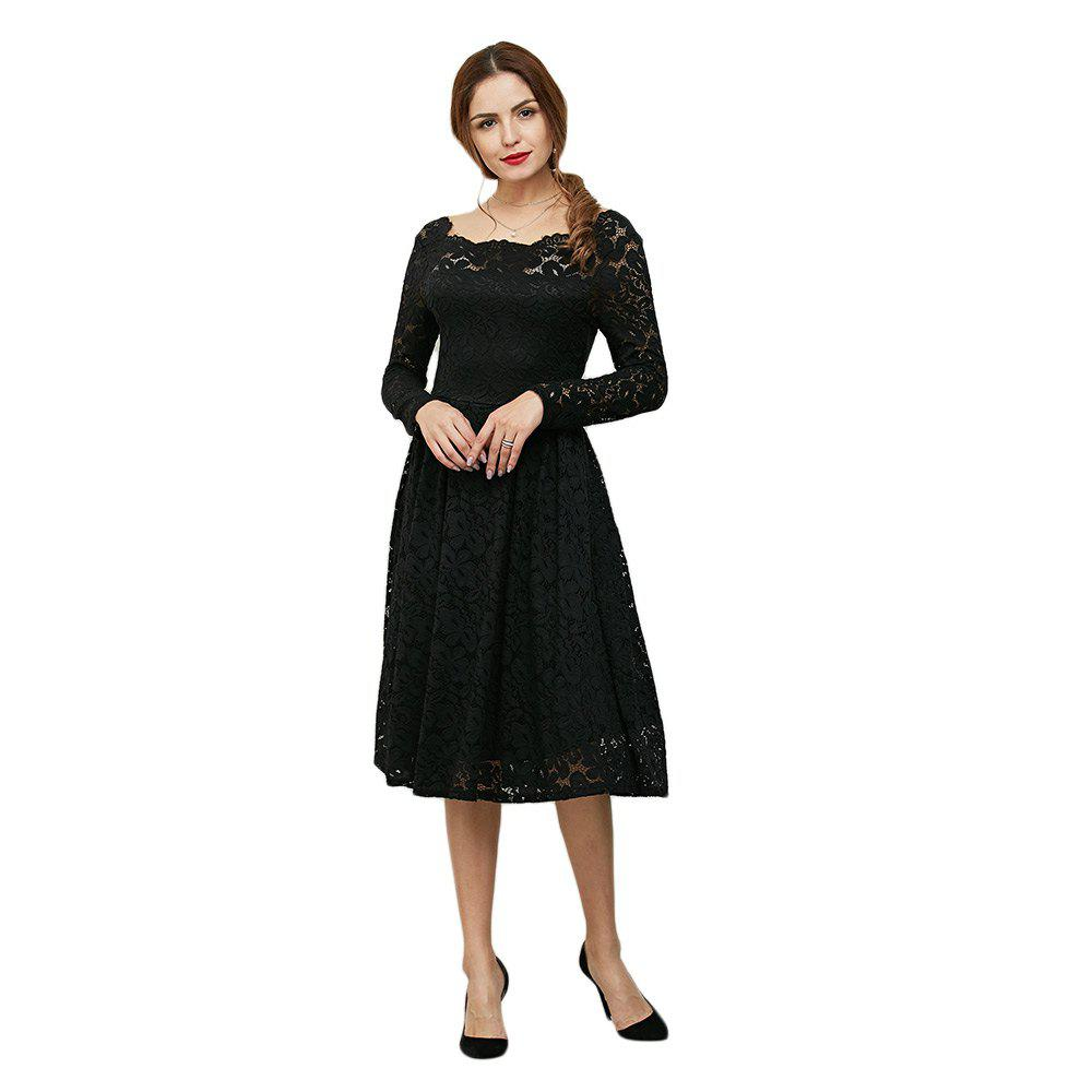 Discount Elegant Long Sleeve Slash Neck Hollow Out Lace Dress for Women