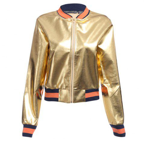 Outfit Street Style Long Sleeve Stand Collar Zipper Type Short Jacket for Women - S GOLDEN Mobile