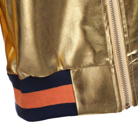 Fashion Street Style Long Sleeve Stand Collar Zipper Type Short Jacket for Women - L GOLDEN Mobile