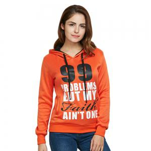 Casual Hooded Long Sleeve Drawstring Letter Print Women Orange Hoodie