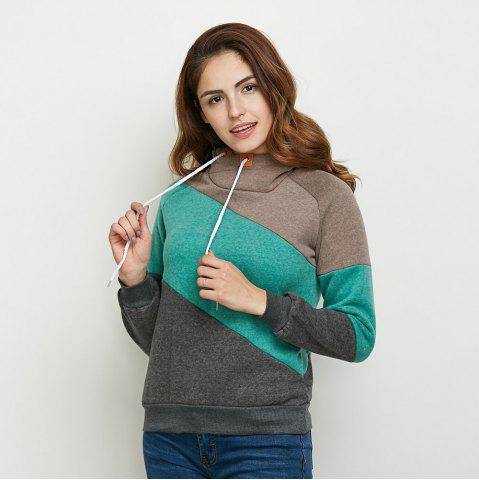 Unique Stylish Hooded Long Sleeve Drawstring Color Block Women Hoodie - M DEEP GRAY Mobile