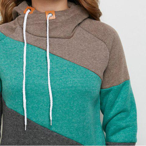 Outfits Stylish Hooded Long Sleeve Drawstring Color Block Women Hoodie - M DEEP GRAY Mobile