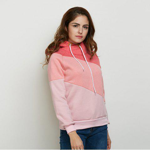 New Stylish Hooded Long Sleeve Drawstring Color Block Women Hoodie - M PINK Mobile