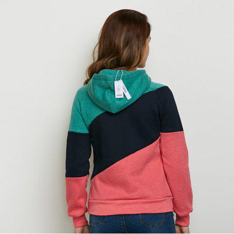 Outfits Stylish Hooded Long Sleeve Drawstring Color Block Women Hoodie - M BLACK Mobile