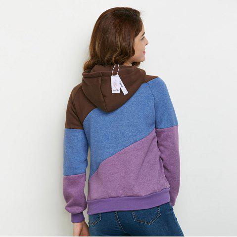 Outfit Stylish Hooded Long Sleeve Drawstring Color Block Women Hoodie - M PURPLE Mobile