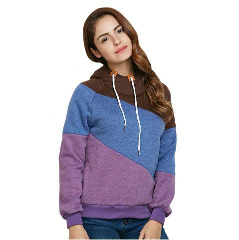 New Stylish Hooded Long Sleeve Drawstring Color Block Women Hoodie - M PURPLE Mobile