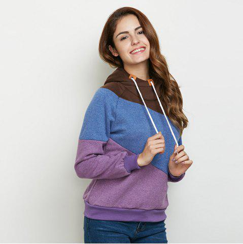 Shop Stylish Hooded Long Sleeve Drawstring Color Block Women Hoodie - M PURPLE Mobile