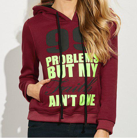 Shops Casual Hooded Long Sleeve Drawstring Letter Print Women Hoodie - L CLARET Mobile