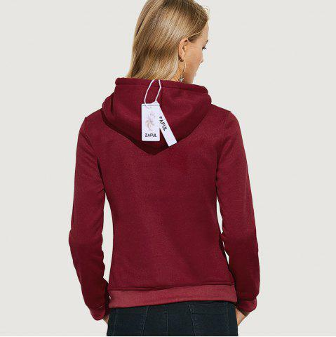 Fashion Casual Hooded Long Sleeve Drawstring Letter Print Women Hoodie - L CLARET Mobile