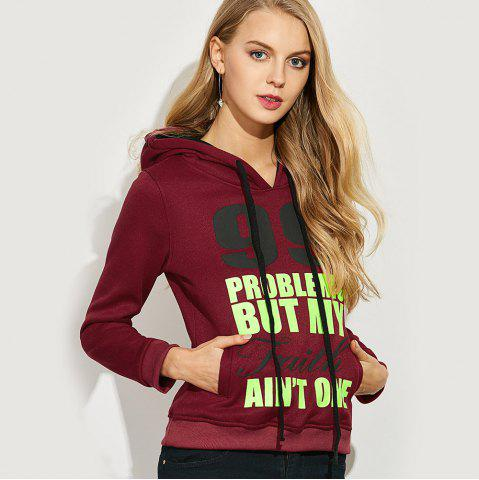New Casual Hooded Long Sleeve Drawstring Letter Print Women Hoodie - L CLARET Mobile