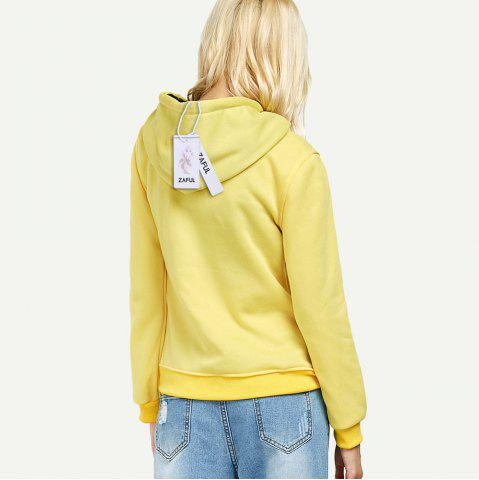 Sale Casual Hooded Long Sleeve Drawstring Letter Print Women Hoodie - L YELLOW Mobile