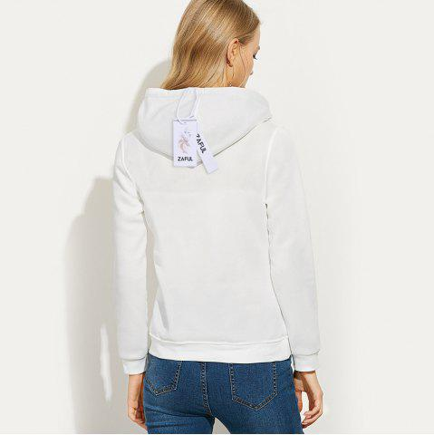 Affordable Casual Hooded Long Sleeve Drawstring Letter Print Women Hoodie - L WHITE Mobile