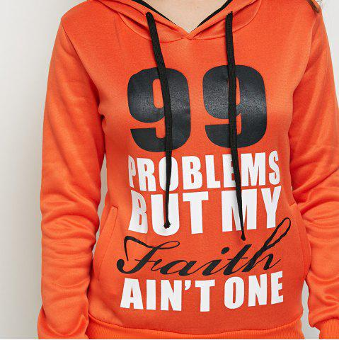 Latest Casual Hooded Long Sleeve Drawstring Letter Print Women Orange Hoodie - L DARKSALMON Mobile