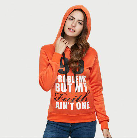 Cheap Casual Hooded Long Sleeve Drawstring Letter Print Women Orange Hoodie - L DARKSALMON Mobile