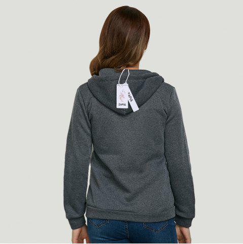 Online Fashion Hooded Long Sleeve Drawstring Zipper Type Women Coat - DEEP GRAY XL Mobile