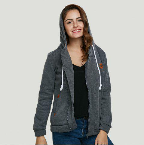 Discount Fashion Hooded Long Sleeve Drawstring Zipper Type Women Coat - DEEP GRAY XL Mobile